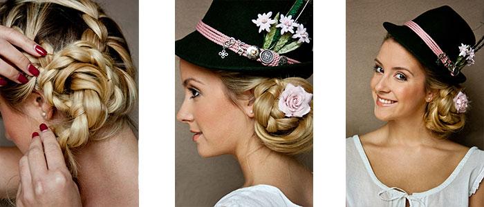 """Frisur 3: Der geflochtene Bauernzopf aus Frisur 2 wird zu einem Dutt gedreht. Der LIMBERRY Trachtenhut """"Alpenfräulein"""" gesellt sich ideal dazu."""