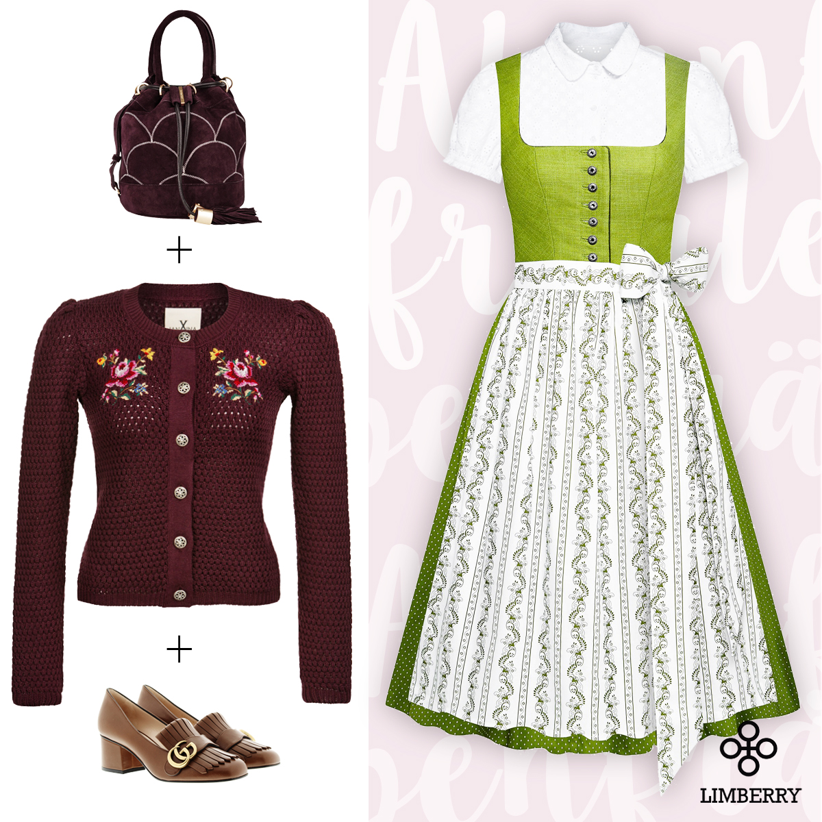 1-dirndl-4-looks-preppy-dirndl-bucket-bag-college-pumps-limberry-blumen-stickerei